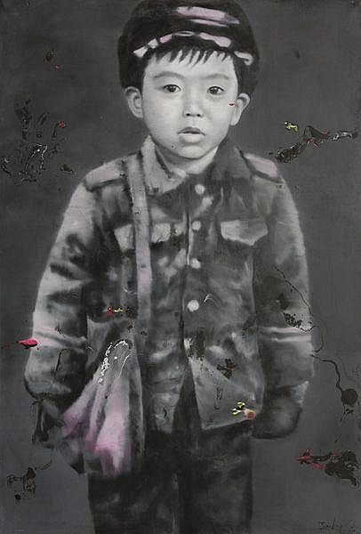 TIANBING LI Autoportrait avec sac rouge