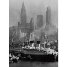 ANDREAS FEININGER - Queen Elizabeth in New York Harbor, 1946