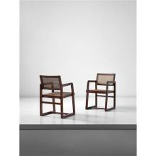 PIERRE JEANNERET - Pair of 'Cane seat cane back' office armchairs, model no. PJ-SI-43-A, designed for Punjab University, Chandigarh, circa 1960