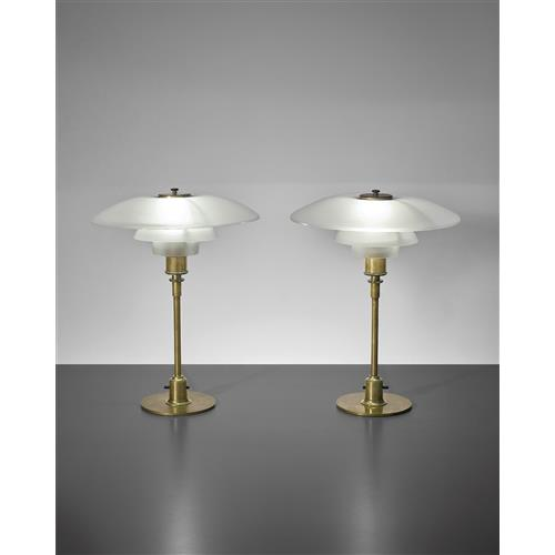 Poul henningsen pair of early table lamps type 4 3 shades Types of table lamps