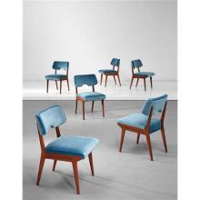 AUGUSTO ROMANO - Unique set of six dining chairs, designed for Casa Cirio, Turin, circa 1952