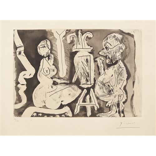 PABLO PICASSO - Peintre et son modèle (Painter and his Model), 1965