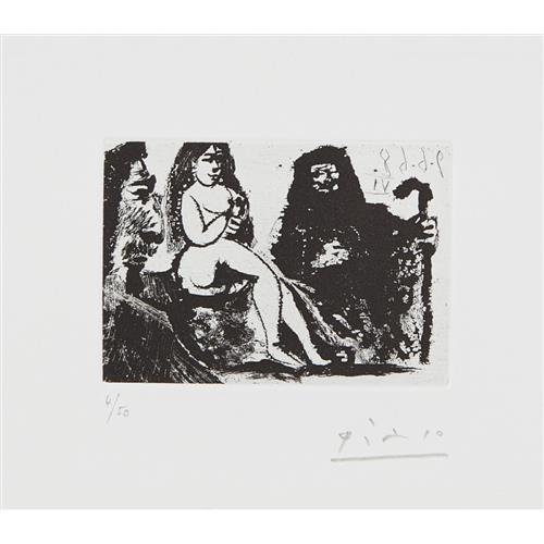 PABLO PICASSO - Visiteur au nez bourbonien chez la Célestine (Visitor with a Bourbon Nose at Célestine's), plate 151 from 347 Series, 1968
