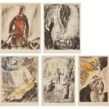MARC CHAGALL - David's Victory Over Goliath; The Offering of Elijah; Moses Dies in Sight of Promised Land (Death of Moses); The Judgement of Solomon; and La Vidion de Elie, from La Bible series, 1931-39
