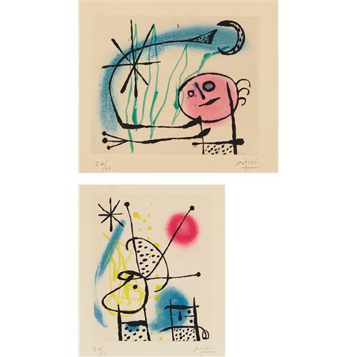 JOAN MIRÓ - Suite La Bague d'aurore (The Ring of Dawn Suite): two plates, 1957