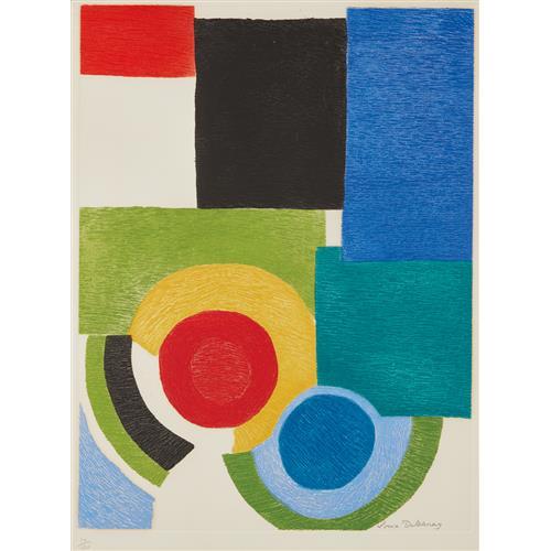 SONIA DELAUNAY - Deux cercles sous carrés, 1970