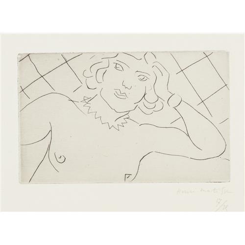 HENRI MATISSE - Torse, fond à losanges (Torso, on Diamond Background), 1929