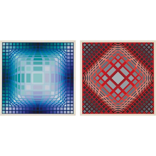 VICTOR VASARELY - vy-47-E; and vy-47-H, from Gaia portfolio, 1975