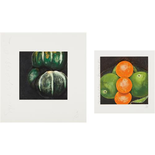 DONALD SULTAN - Squash from, Fruits and Flowers; and Apples and Oranges, 1981 and 1987