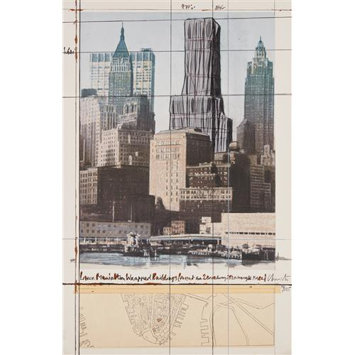 CHRISTO - Lower Manhattan Wrapped Buildings, Project for 2 Broadway, 20 Exchange Place, 1990