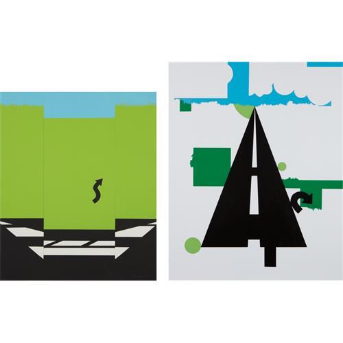 ALLAN D'ARCANGELO - Landscape I, from 11 Pop Artists, Volume I; and Landscape II, from 11 Pop Artists, Volume II, 1965-66
