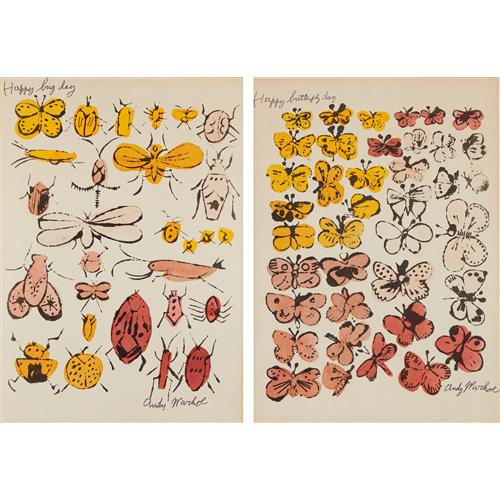 ANDY WARHOL - Happy Bug Day; and Happy Butterfly Day, 1955