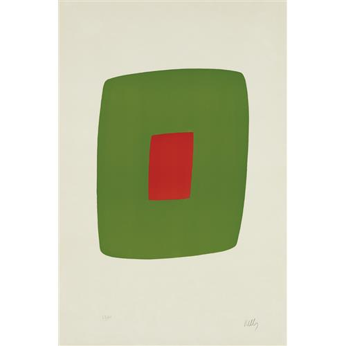 ELLSWORTH KELLY - Green with Red, from Suite of Twenty-Seven Color Lithographs, 1965
