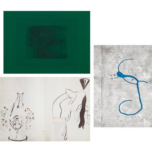 SIGMAR POLKE - At the Opera (Answer to the Question Whether Sponges Possess Consciousness); Untitled (Flowerpot); and Untitled (Griffelkunst 1988), 1973, 1985 and 1988