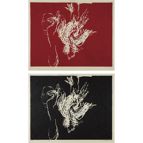 SUSAN ROTHENBERG - Dead Rooster (Red); and Dead Rooster (Black), 1993