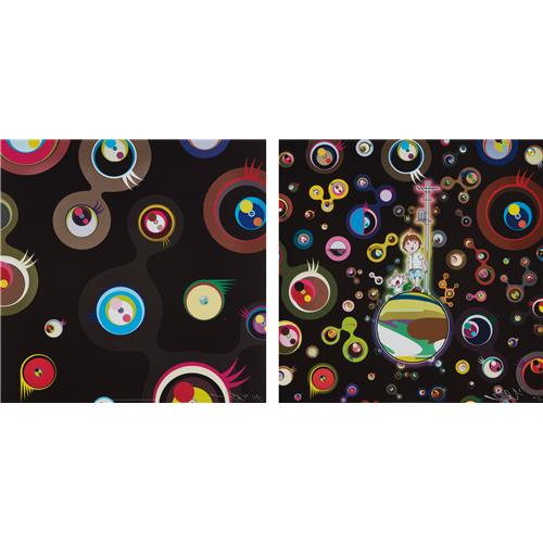 TAKASHI MURAKAMI - Jellyfish Eyes - Black 2; and Jellyfish Eyes, 2004 and 2013