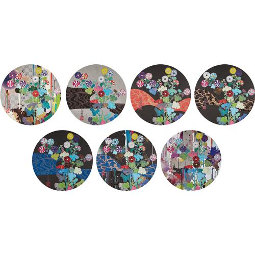 TAKASHI MURAKAMI - With Reverence, I Lay Myself Before You - K?rin - Chrysanthemum; Hokky? Takashi- Kansei; A Red River Is Visible; Kansie: Wildflowers Growing in the Night; K?rin: Azure River; K?rin: Stellar River in the Heavens; and K?rin: Superstr