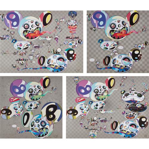 TAKASHI MURAKAMI - Parallel Universe; Spiral; Hands Clasped; and Another Dimension Brushing Against Your Hand, 2014 and 2015