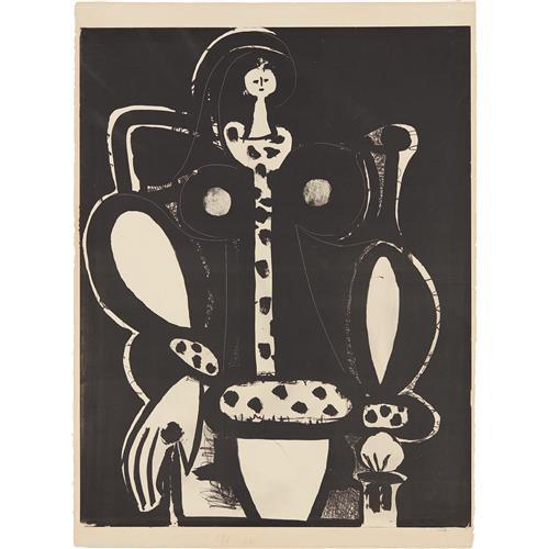 PABLO PICASSO - Femme au fauteuil (d'après le noir) (The Armchair Woman, from the black), 1948