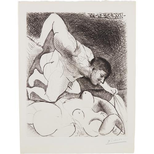 PABLO PICASSO - Homme dévoilant une femme (Man Unveiling a Woman), plate 5 from La Suite Vollard, 1931