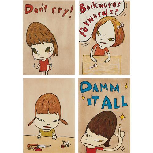 YOSHITOMO NARA - Don't Cry; Backwards and Forwards; Broken Treasures; and Damn It All, 2012