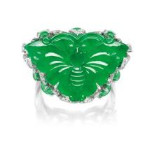 A Jadeite 'Butterfly', Jadeite Cabochon and Diamond Ring