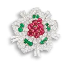 A Ruby, Emerald and Diamond Flower Brooch
