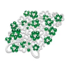 A Jadeite and Diamond Floral Brooch