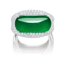 A Jadeite Saddle-top and Diamond Ring