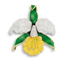 OSCAR HEYMAN & BROS. - A Yellow Diamond, Diamond and Green Enamel 'Orchid' Brooch, Oscar Heyman & Brothers