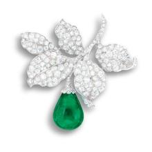 An Emerald and Diamond Brooch, Circa 1910