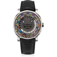 LOUIS VUITTON - An unusual stainless steel worldtime wristwatch, Circa 2015