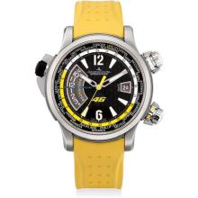 JAEGER LECOULTRE - A titanium limited edition world time wristwatch with alarm and date, made in tribute to the Italian motorbike racer Valentino Rossi, Circa 2006