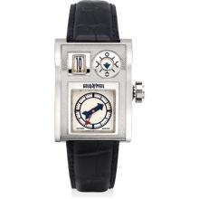 VIANNEY HALTER AND GOLDPFEIL - A very fine and extremely rare white gold rectangular jump hour wristwatch with moon phases, Circa 2002
