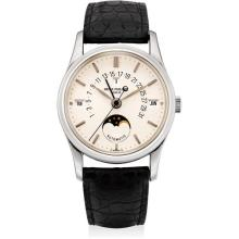 PATEK PHILIPPE - A fine and rare platinum perpetual calendar wristwatch with sweep centre seconds, retrograde date, moon phases, leap year indicator and original certificate, 1994