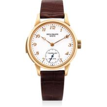 PATEK PHILIPPE - An extremely fine and very rare pink gold minute repeating tourbillon wristwatch with enamel dial, Breguet numerals, original certificate, additional case back and fitted presentation box, 2004