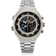 OMEGA - A rare stainless steel dual time chronograph wristwatch with bracelet, 1978