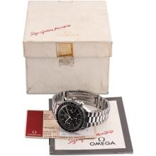OMEGA - A stainless steel chronograph wristwatch with bracelet, guarantee and fitted presentation box, Circa 1998