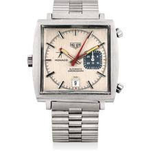 HEUER - A fine and rare stainless steel chronograph square wristwatch with date and bracelet, Circa 1972