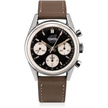HEUER - A highly rare and attractive stainless steel chronograph wristwatch with black dial, made for