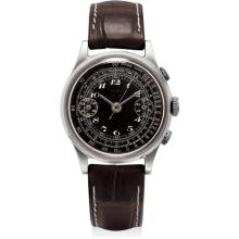 UTI - A rare stainless steel chronograph wristwatch with black dial, fixed bar lugs, Breguet numerals and