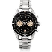 EBERHARD - A fine and rare stainless steel chronograph wristwatch with date, black lacquer dial and bracelet, Circa 1962