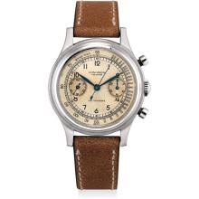 LONGINES - A fine and rare stainless steel chronograph wristwatch with sweep centre seconds, two-tone dial and stepped bezel, 1945