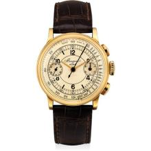 BREGUET - A fine and rare yellow gold chronograph wristwatch with sector dial and 'olive' pushers, Circa 1941