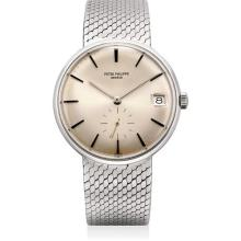 PATEK PHILIPPE - A rare white gold bracelet watch with date, 1967