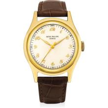 PATEK PHILIPPE - A highy attractive yellow gold wristwatch with sweep centre seconds and Breguet numerals, 1950