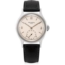 PATEK PHILIPPE - A rare and very attractive stainless steel wristwatch with hard enamel dial, 1948