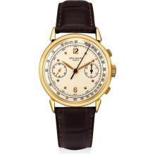 PATEK PHILIPPE - A rare and attractive yellow gold chronograph wristwatch with