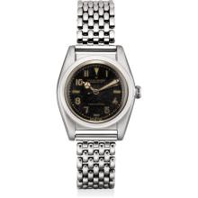 ROLEX - A rare and attractive stainless steel wristwatch with sweep centre seconds, black lacquer dial and bracelet, Circa 1944