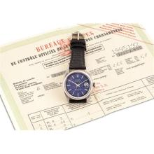 ROLEX - A stainless steel wristwatch with sweep centre seconds, date, linen blue dial and watch rate certificate, Circa 1968